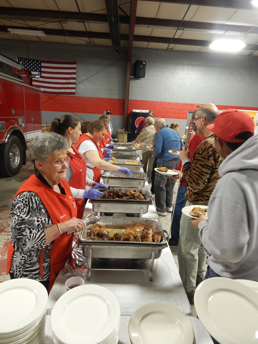 fire company serving food to patrons