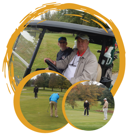Collage of photos - Fred and Dr. Gosse in cart, two photos of different players putting
