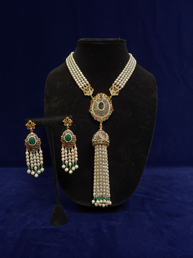 Turkish Tassel Necklace & Earring Set - Pearl Beads