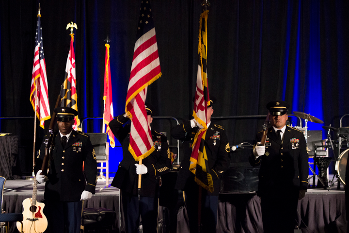 Color Guard presenting American Flag, Major General Taylor's flag, and State of Maryland flag