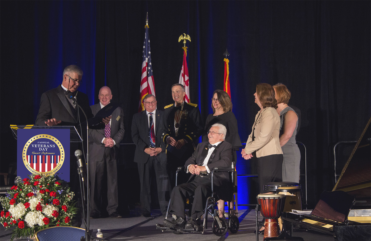 second WWII veteran receiving honor from BISM president Fred Puente, honor is from Maryland Governor's Office