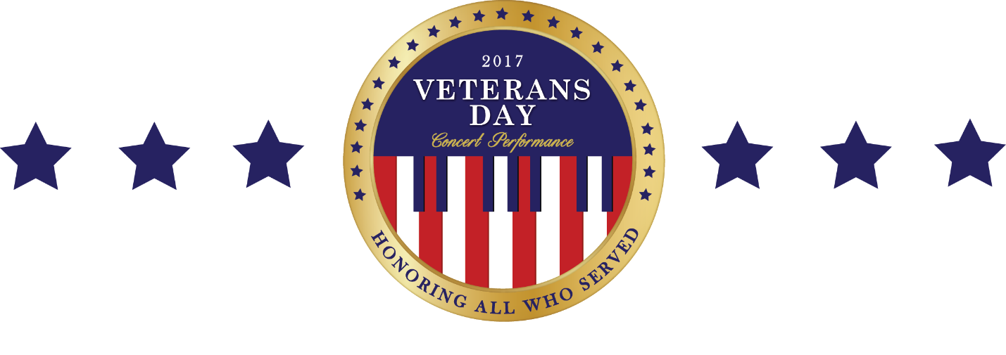 veterans day letterhead - Concert Coin logo in center flanked by 3 blue stars left and right