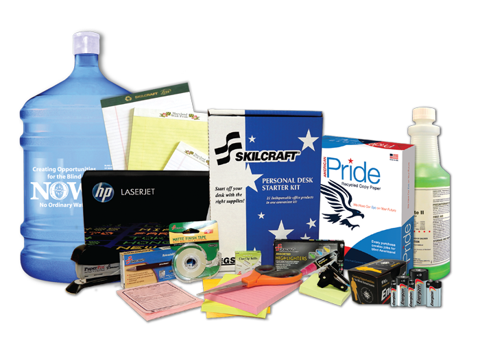 Maryland Pride office products, batteries, cleaner, paper pads, and copy paper