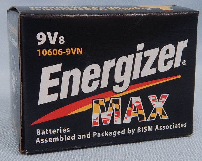 9 volt batteries - Energizer Max packaged by BISM