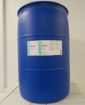 blue 55 gallon drum, white label, light blue stripe