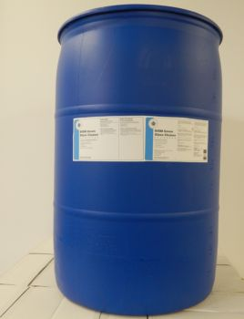 blue 55 gallon drum with dark blue stripe label