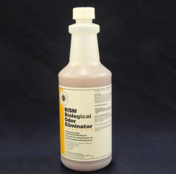 clear bottle with pink liquid inside, white label with yellow stripe - BISM Biological Odor Eliminator