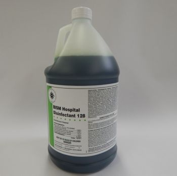 clear jug filled with dark green liquid, white label with green stripe - BISM HOSPITAL DISINFECTANT 128