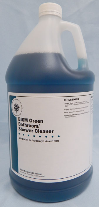 clear jug with blue liquid inside, white label with blue stripe - BISM Green Bathroom/Shower Cleaner