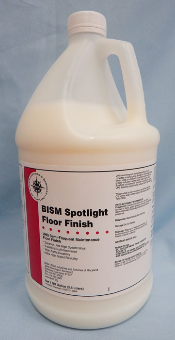 clear jug, white liquid, white label, red stripe - BISM Spotlight Floor Finish