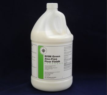 clear jug, white liquid, white label, green stripe - BISM Green Zinc-Free Floor Finish