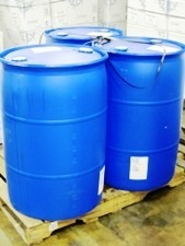 3 blue 55 gallon drums on pallet