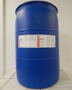 blue 55 gallon drum, white label, red stripe