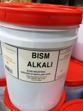 white bucket, orange lid, label - BISM Alkali