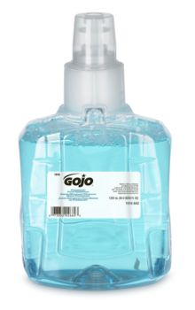 small bottle of light blue soap