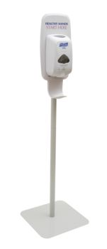 white floor stand with Purell dispenser on top