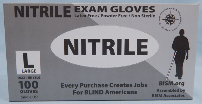 BISM Brand nitrile gloves in grey box - large size