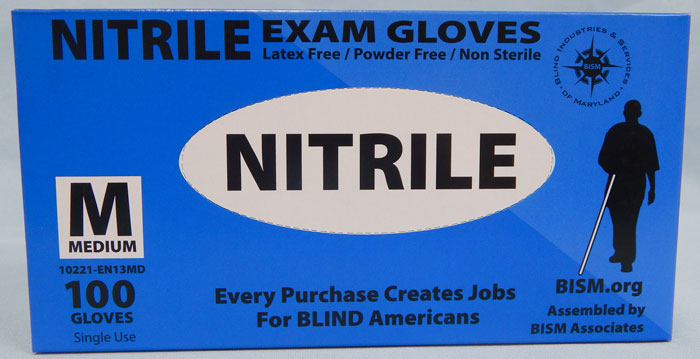 BISM Brand nitrile gloves in blue box - medium size