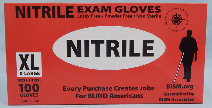 BISM Brand nitrile gloves in red box - extra large size