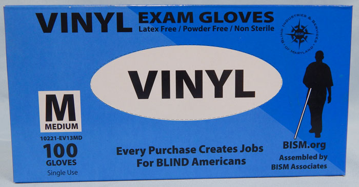 BISM Brand vinyl gloves in blue box - medium size