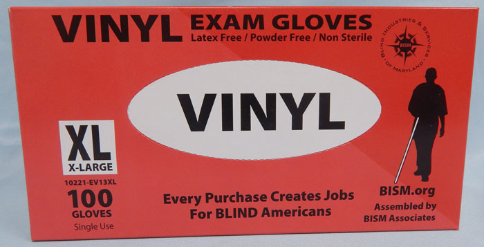 BISM Brand vinyl gloves in red box - extra large size