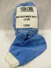 blue microfiber mitt, white trim