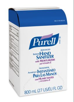 white box with blue top, Purell branding