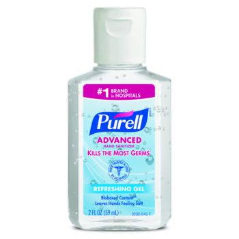 small bottle, blue label, Purell brand