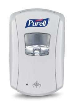 white sanitizer dispenser, hand sensor at bottom, Purell brand