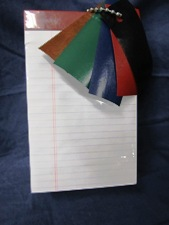 legal paper pad, ruled white, choice of color tape top