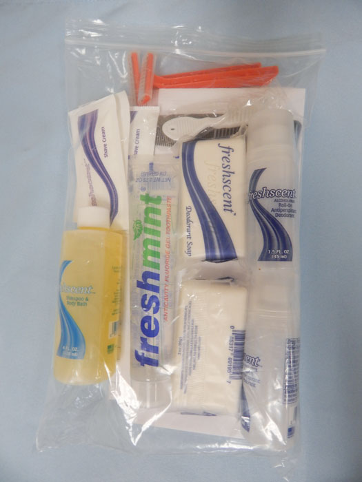 Welfare Kit in clear plastic zip bag, all products inside