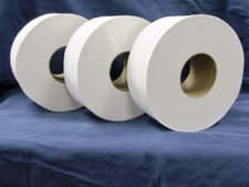 3 rolls of white toilet paper