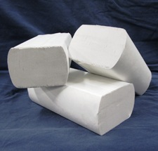 3 packs of folded paper towels, white, wrapped tightly