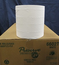 Single roll of paper towels on top of case