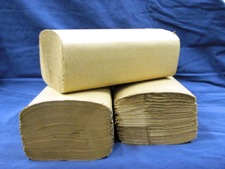 3 packs of single fold brown paper towels wrapped tightly