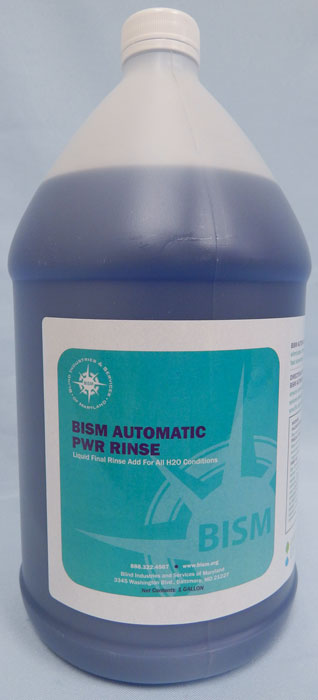 clear jug with blue liquid inside, teal label - BISM AUTOMATIC PWR RINSE