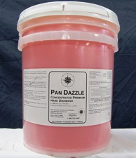 clear bucket filled with red liquid - white label - PAN DAZZLER
