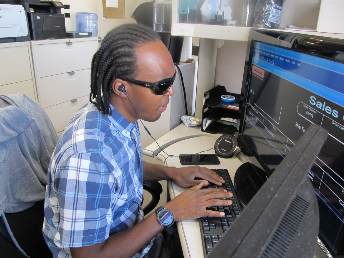 Chris Jones working at computer