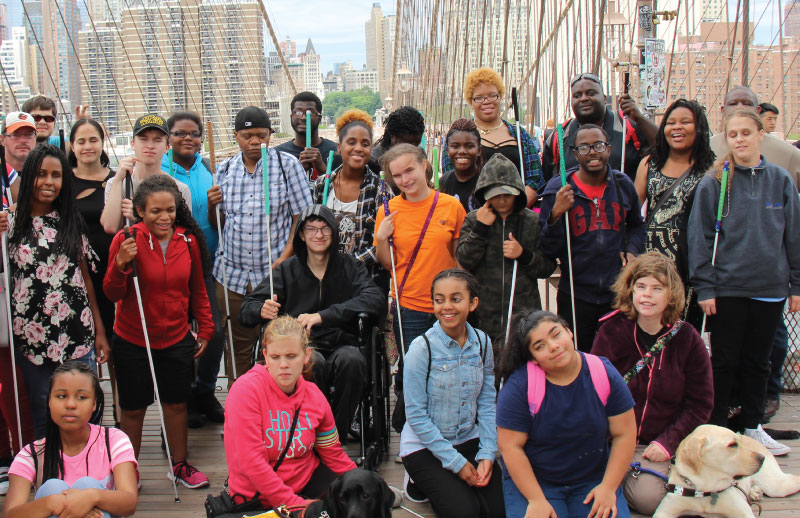 Youth program group photo on the Brooklyn Bridge
