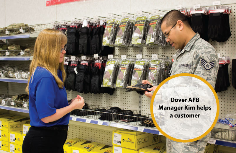 Dover AFB BSC Manager Kim helps a customer