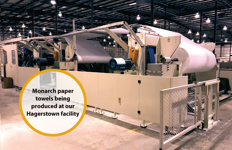 Paper towel machine line - caption: Monarch paper towels being produced at our Hagerstown facility